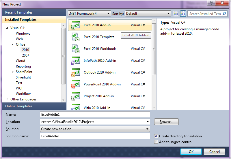 Visual Studio 2010 new project