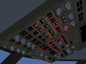 747-400 Cockpit above head